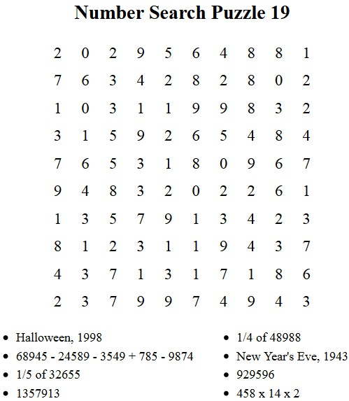 image regarding Free Printable Number Search Puzzles identified as Absolutely free Puzzles in the direction of Print - Quantity Look Puzzle 16