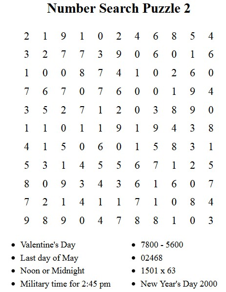 picture about Free Printable Number Search Puzzles identified as Cost-free Puzzles in the direction of Print - Amount Glance Puzzle 1