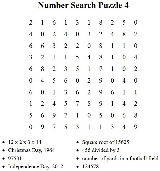 image regarding Free Printable Number Search Puzzles known as Cost-free Puzzles towards Print - Selection Appear Puzzle 4
