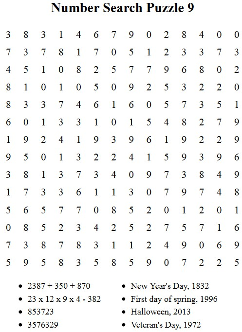 Free Puzzles to Print Number